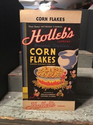 1940s Holleb's Corn Flakes Cereal Box with Palmer Cox Like Brownies Elves NOS