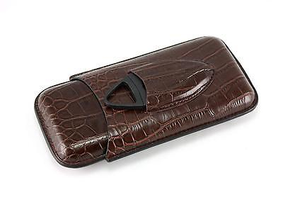Dark Brown Crocodile Leather Travel 3 Cigar Case Holder with Cigar Cutter