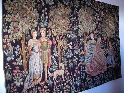 Superb French Vintage Gobelins Scenes Galantes Medieval Wall Tapestry