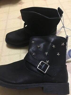 New the children's place girl's ankle boot size 1 black