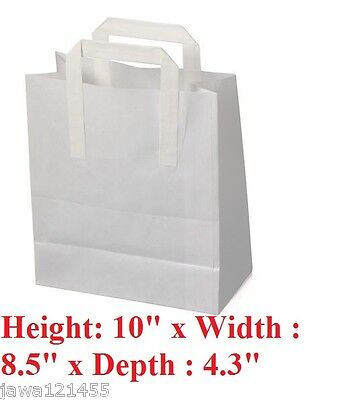 Paper Carrier Bags White Pure Kraft Takeaway Carriers Bag  Carrier Bag Bargain