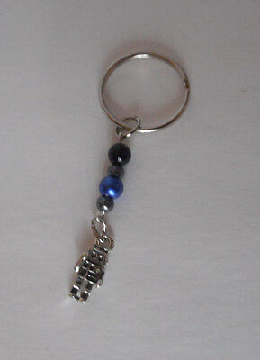 handcrafted zipper pull backpack charm blue/gray glass beads robot charm