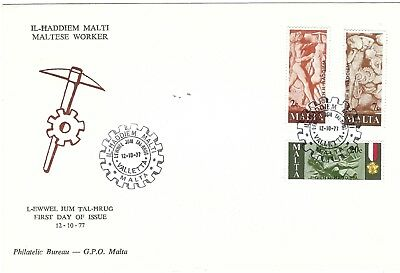 Malta 1977 Maltese Worker Commemoration on MALTA GPO First Day Cover SEE SCANS.