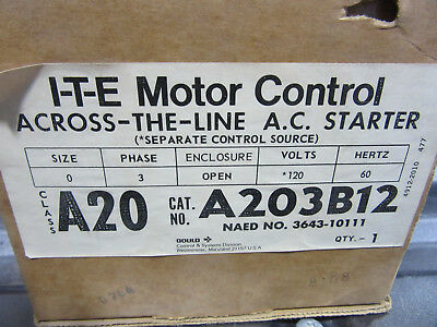 ITE A203B13 AC Contactor 3 Pole Size 0 Coil 120V NEW!!! in Box Free Shipping