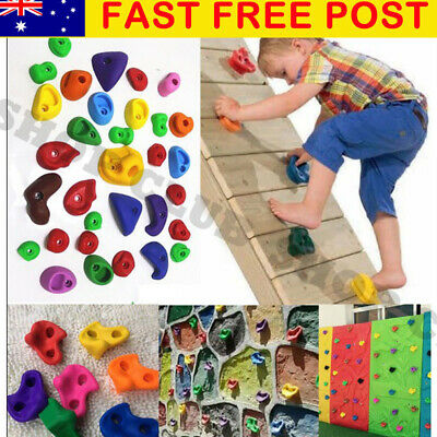 32Pcs Children Climbing Wall Stones Holds Hand Feet Starter Rock Holder+Screws