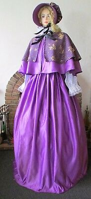 Ladies Victorian Style Cape Skirt Bonnet Purple  Dickensian Carol Costume New