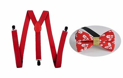 MEN WOMEN RED 25mm Braces Suspenders Xmas Christmas RED Leaves Bow Tie BOWTIE