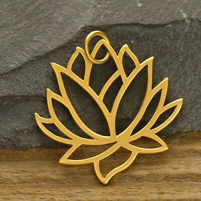 Lotus Large Pendant Satin 24K 24 Carat Gold Plated Flower Yoga Jewelry Pendant