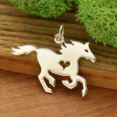 Running Horse Necklace Equestrian Charm 925 Sterling Silver Heart Pendant 1765
