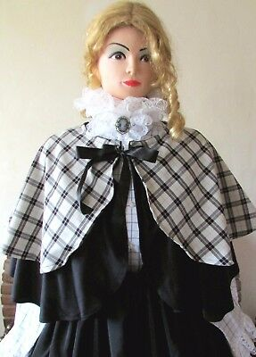 Victorian Style Double Cape Tartan Dickensian Christmas Carol Costume Outfit New
