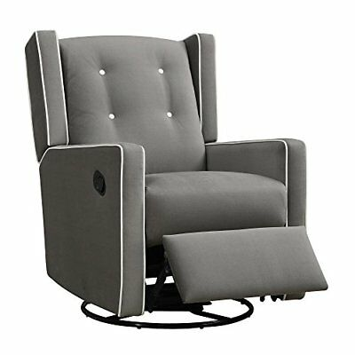 Baby Relax Mikayla Swivel Gliding Recliner Gray Microfiber