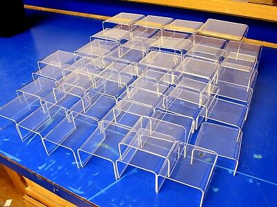 52 Lot Clear Acrylic Displays Risers, Mixed Sizes, Made in USA