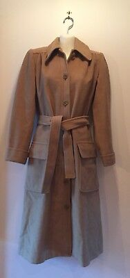 RARE! Ladies Vtg Yves Saint Laurent Rive Gauche Wool Belted Long Trench Coat