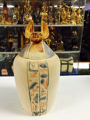 Vintage Heavy Large Egyptian Hand Carved God Anubis Canopic Jar Made in Egypt