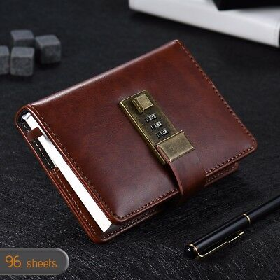 Personal Notebook Journal Diary with Lock Faux Leather Brown