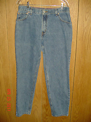 Women's LEVI'S 550 RELAXED FIT TAPERED LEG Red Tab Blue Denim Jeans 14 M P43