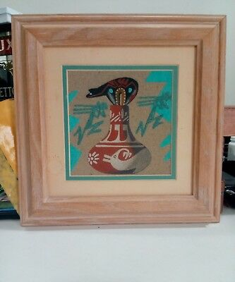 INCREDIBLE RARE Navajo Sand Painting Native American Original Signed By Artist