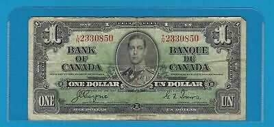 1937  Bank Of Canada $1  BC-21d   Coyne/ Towers  Circulated