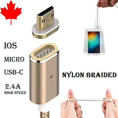 Braided Magnetic Micro and USB-C Charger Charging Cable For Android Samsung LG