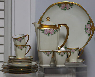17psc Antique Hand Painted Chocolate set  Cups Saucers Cocoa /Teapot  Plates