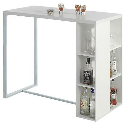 Table haute de bar mange-debout comptoir MDF décor blanc mat