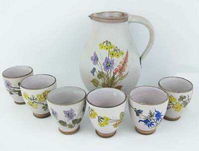 Hand Painted Pottery Pitcher With 6 Cups Wild Flowers Signed By Artist