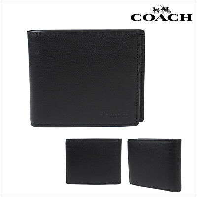 eec288303b46 NWT Coach F74991 Black Compact ID Mens Wallet in Sport Calf Leather MSRP   175.00