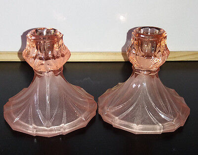 Vintage Pair of Art Deco Frosted Pink & Clear Pink  Glass Candlesticks
