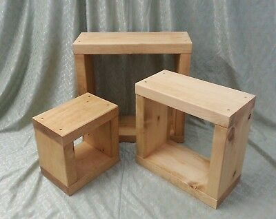 WOODEN CUBE NEST OF TABLES SOLID WOOD RUSTIC GREY WASHED CHUNKY NEST OF TABLES