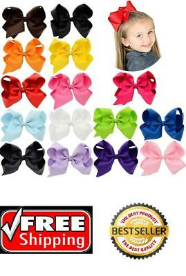 6 Inch Baby Girls Big Huge Hair Bows Flowers Snap Clips Wrapped Alligator 15 Pcs