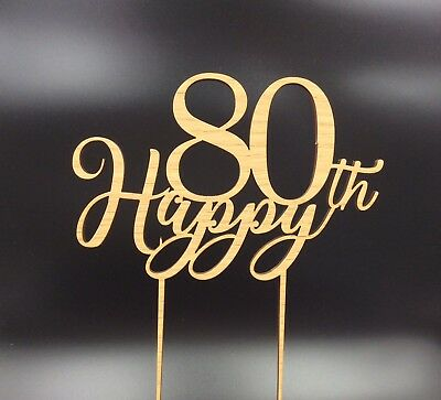 1Pc Cake Topper Happy 80th 80 Wooden Birthday Anniversary Party Decor Supplies