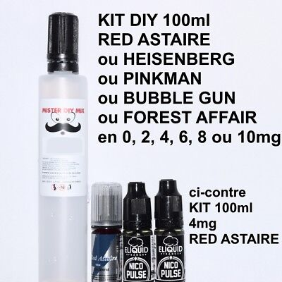 KIT e liquide 100ml RED ASTAIRE, HEISENBERG, PINKMAN, BUBBLE GUN, FOREST AFFAIR
