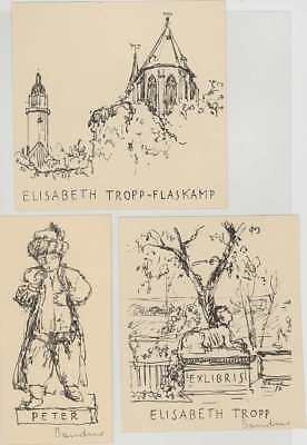 3 Exlibris Wolfgang BANDUR  2 signed Litho Bookplates Konvolut Lot 1950 Sphinx