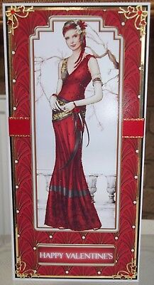 Handmade Art deco valentines card with a classic female lady in red