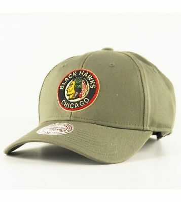 Mitchell & Ness Cap Chicago Blackhawks Olive Curved Visor Cap