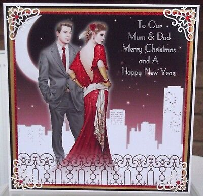 Handmade personalised Art deco christmas card to our mum & dad in red