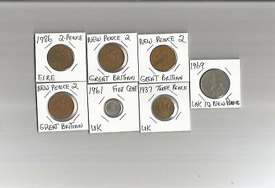 Lot Of  7  Great Britain  Coins  See Description For Details