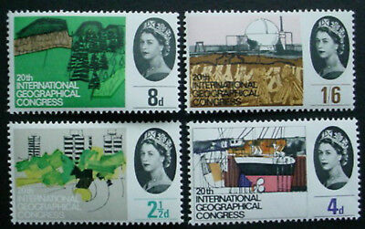 Great Britain 1964: International Geographical Conference: Set Of 4 Mnh Stamps