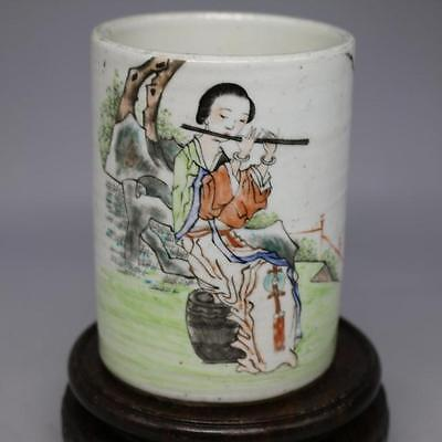 "5.3/"" Chinese Jingdezhen Famille-rose Porcelain Children Kid Boy Brush Pot 童子开春图"