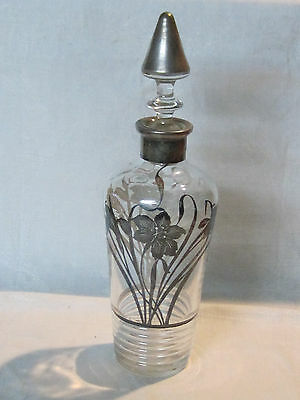 Antique silver overlay glass decanter with flowers and butterfly design