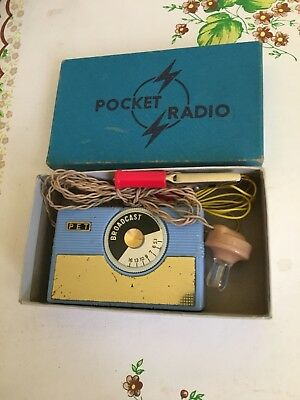 VINTAGE CRYSTAL POCKET RADIO  AM(MW)- BAND FROM THE 1950s-1960S+BOX