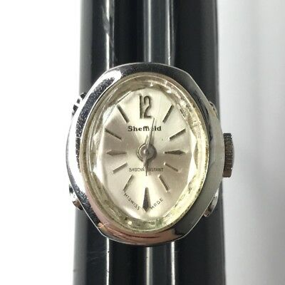 Vtg Sheffield Ring Watch Adjustable Silver Tone Swiss Made for Parts or Repair