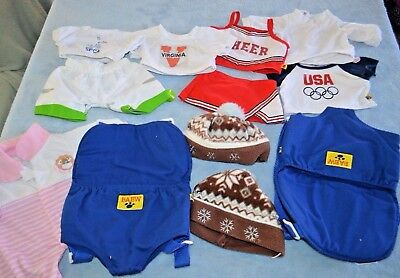 Lot of 10 Pieces Build A Bear clothes and Carrier Outfits Backpack
