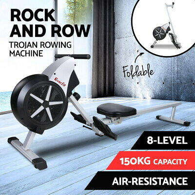 Machine Rowing Rower Exercise Fitness Gym Resistance Flywheel Home Air Concept