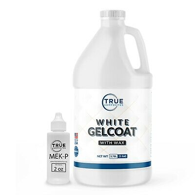 Wax White Gelcoat Top Coat Base (Fiberglass Marine Boat Gel Repair) Gallon Kit