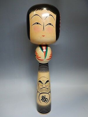 "Unique Japanese traditional Daruma Face Kokeshi Wooden Doll H36.5cm 14.3"" 740g"