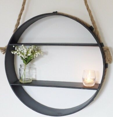 Industrial Nautical Round Rope Hanging Grey Metal Wall Shelves Shelf Unit NEW