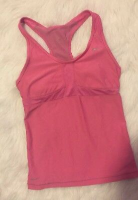 Preowned Women's Nike Dri-fit Pink Racerback Tank With Built-in Bra Size Small