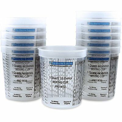 Plastic Paint Mixing Cups Measuring Quick Mix (12 Count) Quart Containers