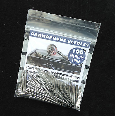 New British-Made Gramophone Needles, Medium Tone, Packs Of 100